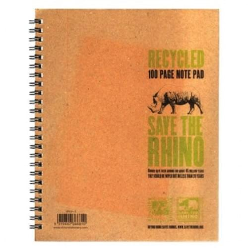 """'Save The Rhino' A5 Plus/9""""x7"""" Recycled Spiral Lined Pad"""