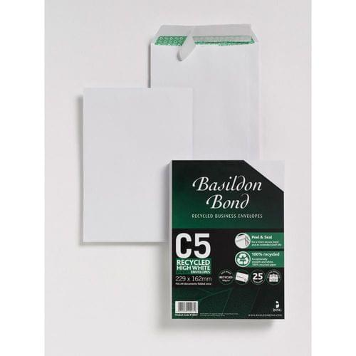 Basildon Bond Recycled 120gsm Peel Seal White C5 Envelopes x 50