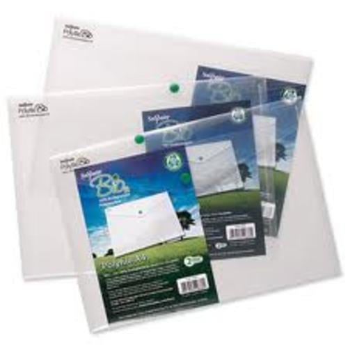 Snopake Biodegradable Popper Wallet A4 Clear pack 5