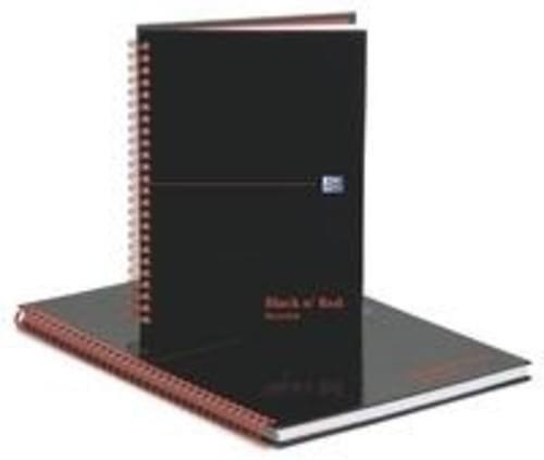 Black n Red A4 Recycled Glossy Hard Cover Spiral Notebook