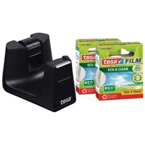 Tesa Eco Recycled Desk Dispenser with 2 rolls of 19mmx33m Eco Clear Tape