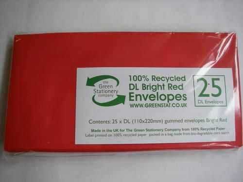 Recycled Red  DL Envelopes small pack of 25