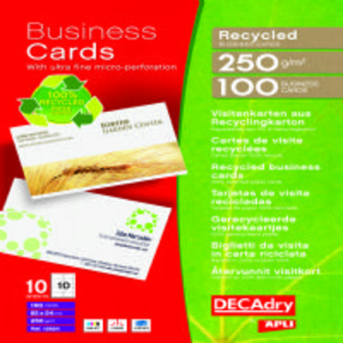 Recycled Printable Business Cards 250gsm 85x54mm 100 Cards