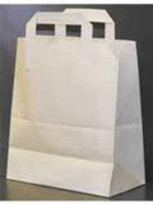 White Recycled Small 17x21cm Flat Handle Carrier Bags x 250