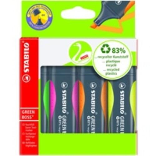 Recycled Green Boss Highlighters Assorted Colours pack of 4