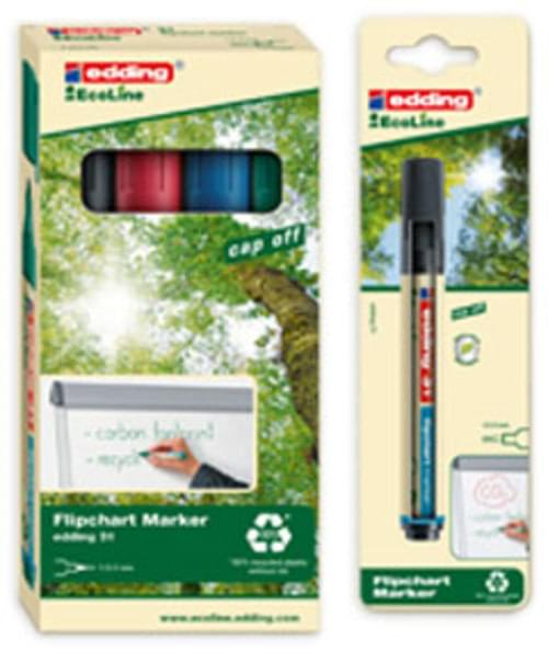 Recycled Flipchart Non-Bleed Bullet Markers pack 4 colours Edding Ecoline 31
