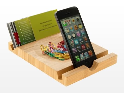 Sustainable Bamboo Solid I Pad/Phone Stand and Desk Tidy