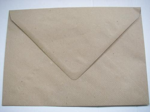 Recycled Ribbed Kraft C5 Envelopes gummed pack 50