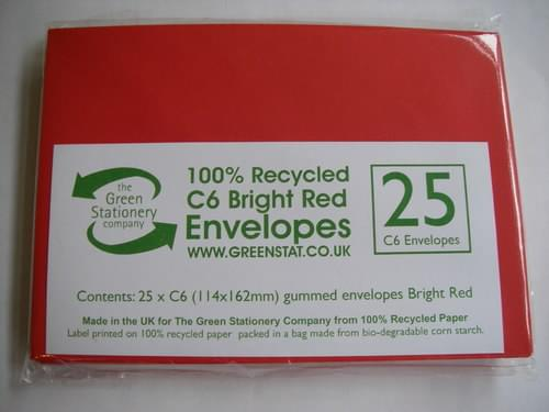 Recycled Bright Red C6 Envelopes X 25