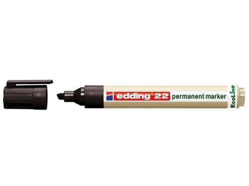 Recycled Permanent Marker Chisel -Tipped Black pack 10 edding 22 EcoLine