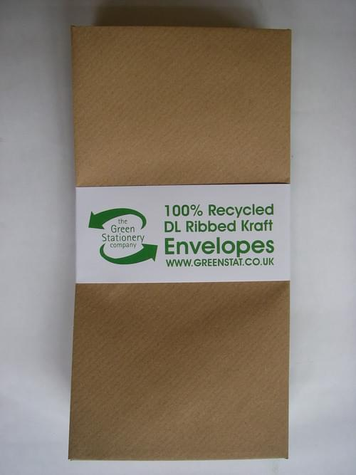 Brown Ribbed Recycled Kraft DL Envelopes pack 50