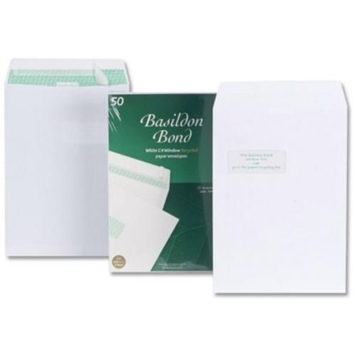 Basildon Bond Recycled 120gsm Peel Seal White C4 Window Envelopes x 50