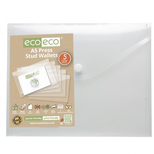 Eco-Eco A5 Recycled Plastic Popper Wallet x 5