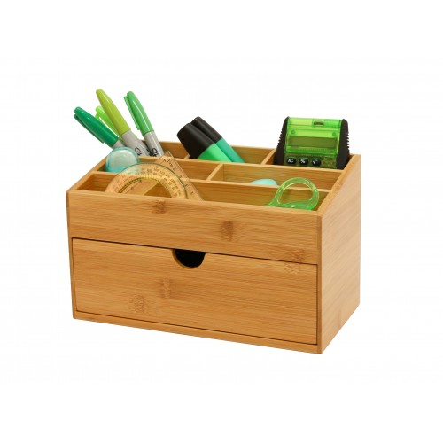 Bamboo Desk Tidy with Drawer Large