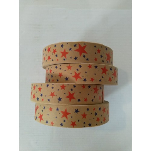 Eco Brown Paper Tape with Stars 25mm width Out Of Stock