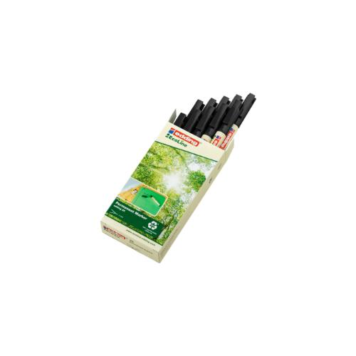 Recycled Permanent Markers Fine 1mm Tip Bullet BLACK x 10 edding 25 EcoLine