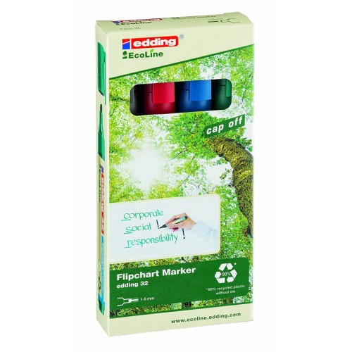 Recycled Flip-chart Non-bleed Markers Chisel x 4 Colours Edding Ecoline 32