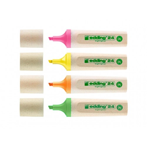 Recycled Non-Bleed Assorted Text Highlighters pack of 4 colours