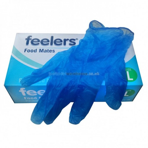 Large Vinyl Gloves Blue latex and powder free Pack of 100