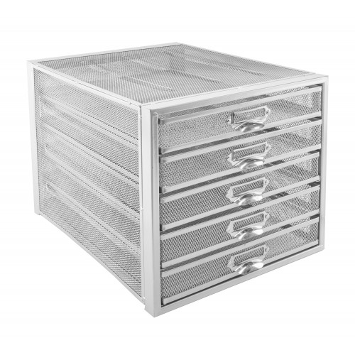 Silver Wiremesh 5 Draw Paper Sorter