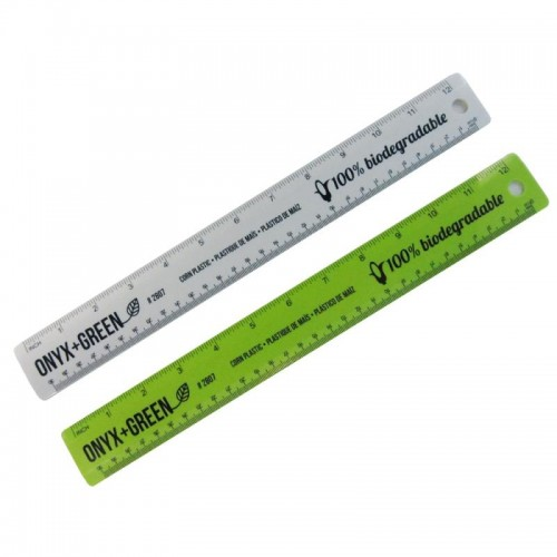 "Onyx Green Bio Corn Plastic 12"" Ruler"