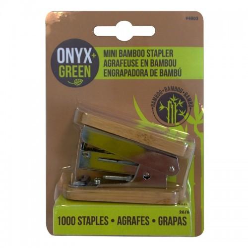 Onyx Green mini Bamboo Stapler, Staple Remover + 1,000 staples
