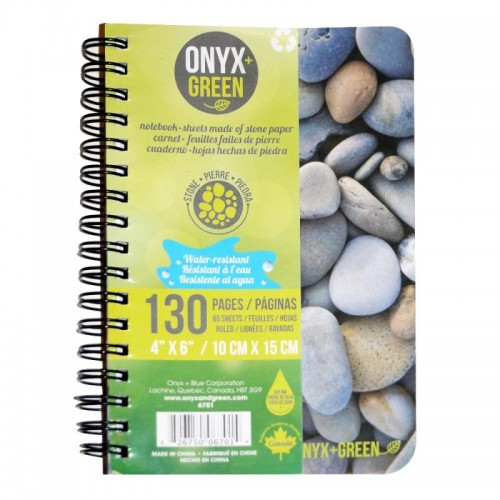 "Onyx Green Stone Paper Notebook 4x6"" A6 spiral bound lined. OUT OF STOCK"