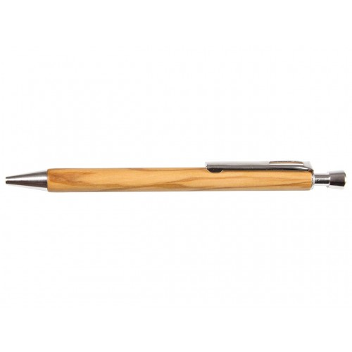 Sustainable Olive Wood - Single Refillable Pen - with blue ink