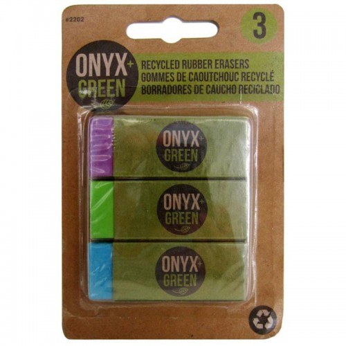 Onyx Green Recycled Rubber Erasers x 3