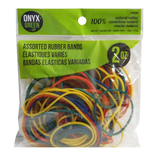 Onyx Green Natural Rubber Bands assorted coulours and sizes 2oz/57g