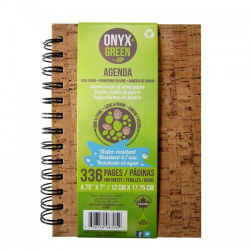 "Onyx Green Agenda Notebook 4.75x7"" Stone Paper Cork Cover"