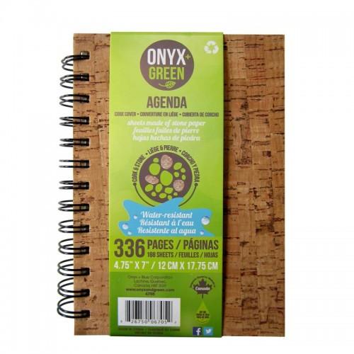"Onyx Green Agenda Notebook 4.75x7"" Stone Paper Cork Cover"