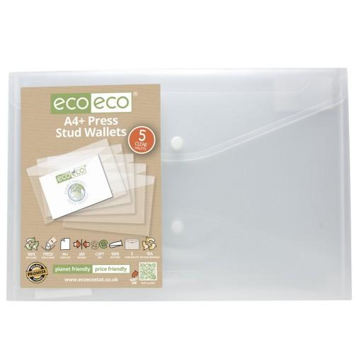 Eco-Eco A4+ Recycled Plastic Popper Wallet x 5