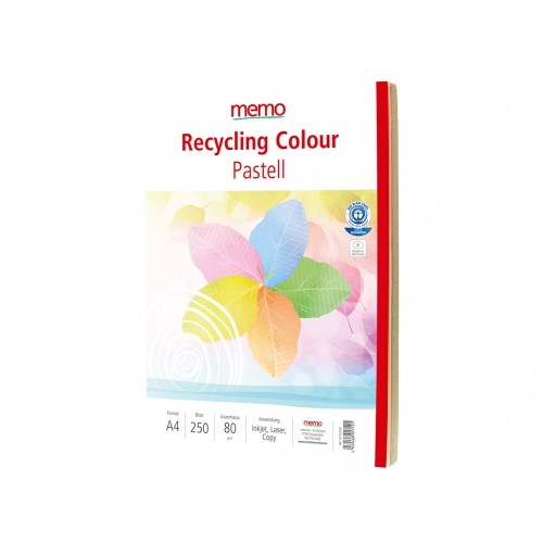 Mixed Pastel Colours Recycled 80gsm Copier Paper A4 x 250 sheets