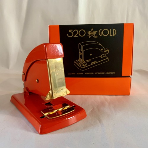 All Metal Zenith 520 Stapler Gold Plated Red - Plastic Free - Life Time Guarantee