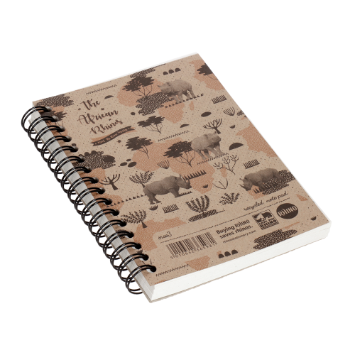 'Save The Rhino' A6 Recycled Spiral-Bound Lined Pad