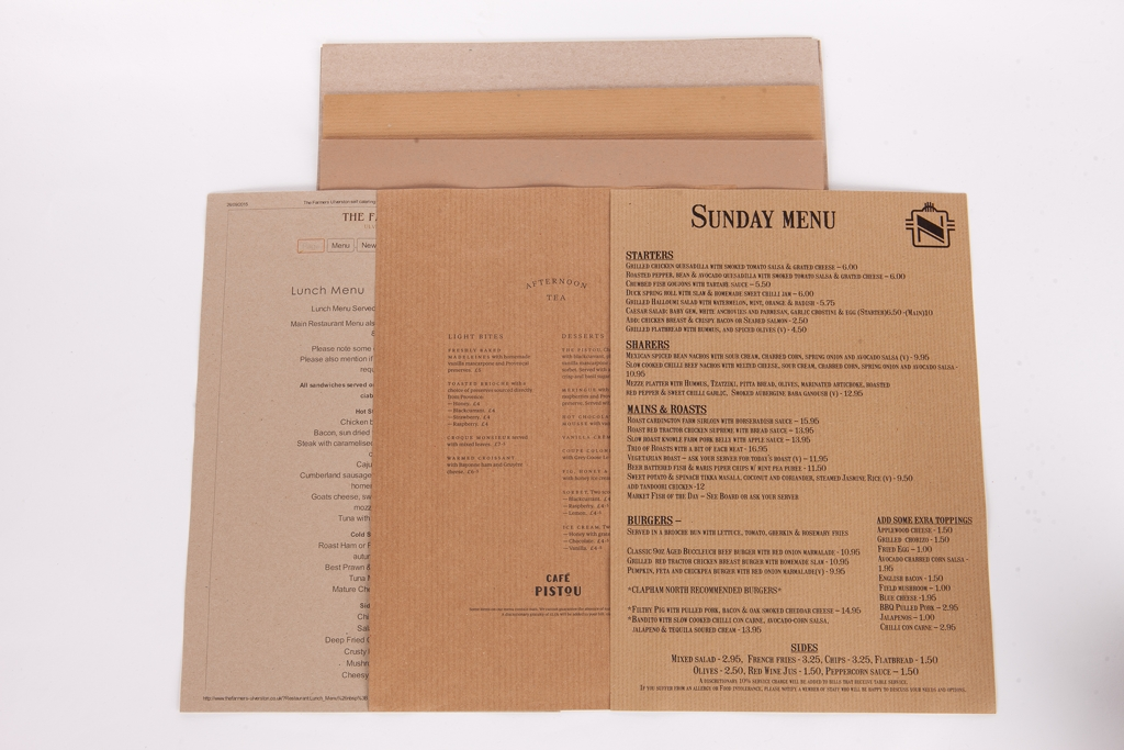Recycled Brown, Grey + Waterproof Menu Papers A4 and A3
