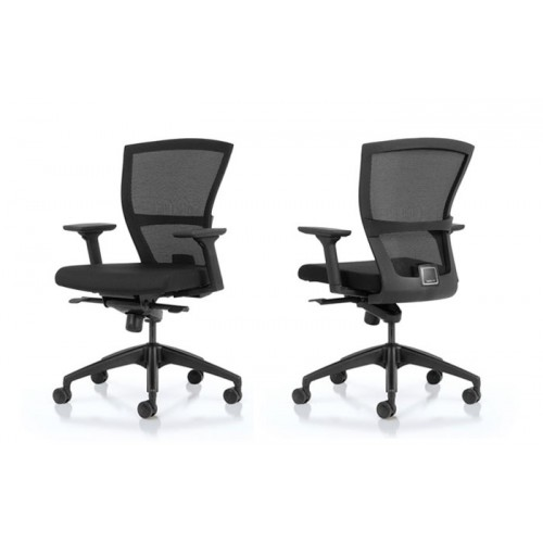E1 TASK CHAIR MESH BACK KNEE TILT SYNCHRONISED MECH MULTI ADJUSTABLE ARMS BLACK