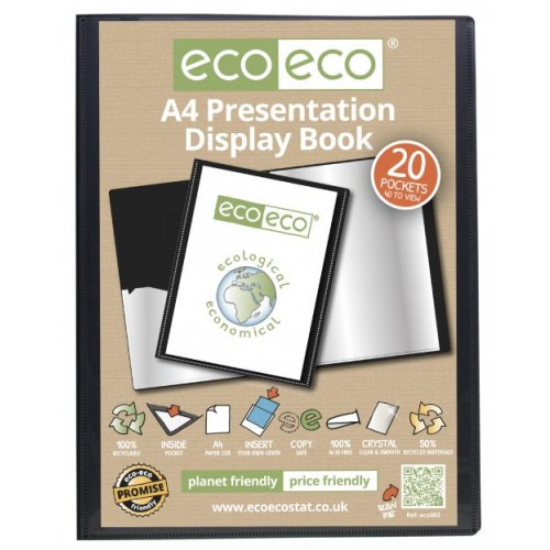 A4 50% Recycled 20 Pocket Presentation Display Book