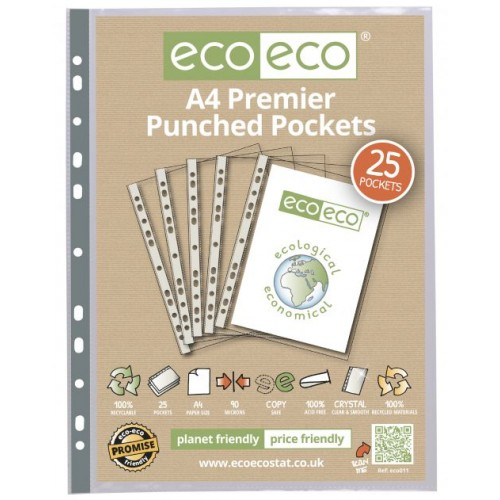 A4 100% Recycled Bag 25 Premier Multi Punched Pockets  single pack