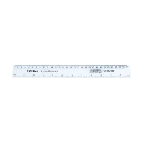 Initiative Shatter Resistant Plastic Ruler 30cm (12 Inch) Clear pack of 1