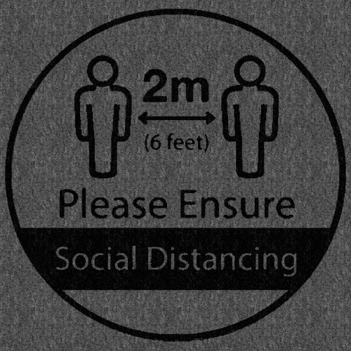 Social distance message on Dark Grey floor tile
