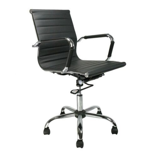 Eames Style Contemporary Bonded Leather Mid Back Swivel Armchair with Chrome Base