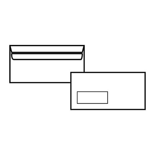 EBB Envelope White DL Pocket 110X220 80gsm Window Self Seal 12884