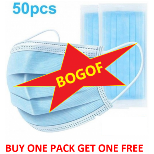 Disposable Face Protection Disposable FDA and CE Certified Pack of 50 BUY ONE GET ONE FREE