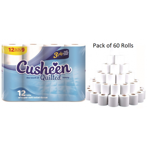 Cusheen Luxury Quilted Soft Toilet Rolls 3-Ply White 5x12 rolls  [Pack 60 Rolls]