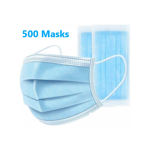500 Face Protection Masks  3 Ply Disposable  (Box of 50 x 10 Boxes = 500 MASKS)