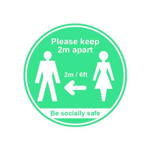 Social Distancing Self Adhesive Sign (190mm diameter)