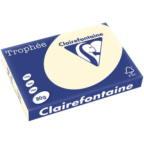 Clairefontaine Trophee 1871 coloured paper A4 80g Cream  pack of 500 sheets