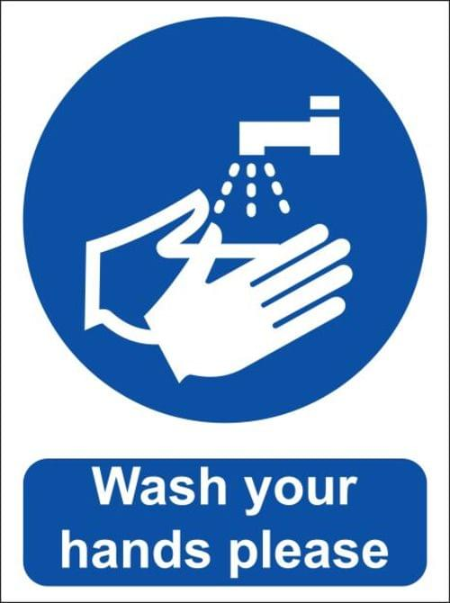 Wash Your Hands Please Sign, Vinyl 15x20cm